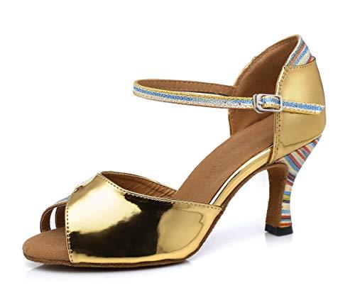 Miyoopark L308 Tanzschuhe für Damen, bunt, stilvoll, Gold - Gold 7 cm Absatz - Größe: 37.5 EU