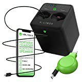 Voltbox 2-in-1 Portable Charger + Bluetooth Speaker w/Built-in 10,400 mAh Power Bank - Fast Charge 4 Devices at Once w/Multi-Port USB, USB-C, iOS Retractable Cables (Black)