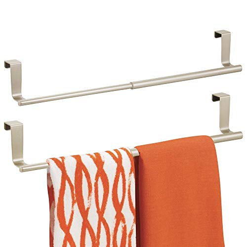 """mDesign Adjustable, Expandable Kitchen Over Cabinet Towel Bar Rack - Hang on Inside or Outside of Doors, Storage for Hand, Dish, Tea Towels - 9.25"""" to 17"""" Wide, 2 Pack - Satin"""