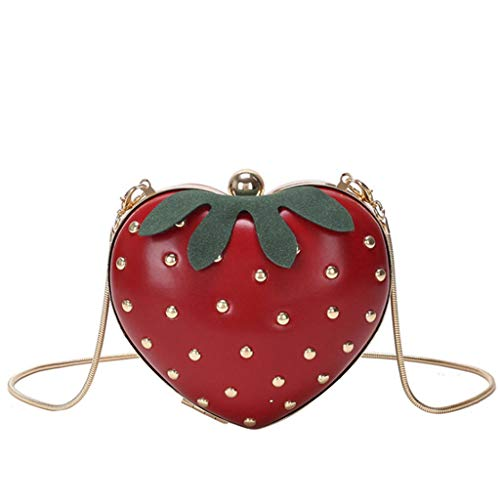 Bolso bandolera en forma de fresa para mujer, bolso de hombro, estilo fruta, bolso de mano para niña, linda bolsa
