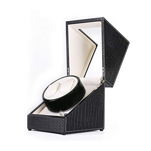 WENZHE Caja para Relojes Caja De Enrollador De Doble Reloj, Ajuste De 4 Modos De Rotación, Cuero PU, Almohada De Peluche Flexible, Motor Extremadamente Silencioso, Negro(Size:B,Color:Blanco)