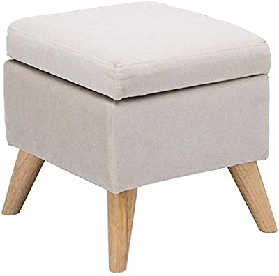 YSDHE Multifunctional Padded Footrest Storage Stool Padded Footrest Practical Solid Wood Footstool Ottoman Single Chair Footrest Seat Max.120KG - Beige