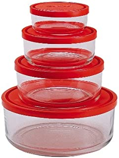 Bormioli Rocco Gelo 4-Piece Set with Red Lids