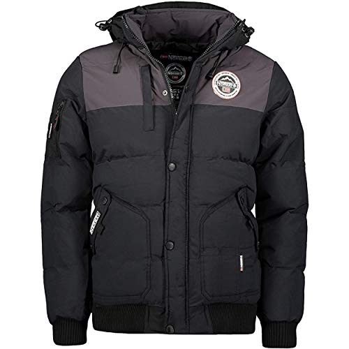 Geographical Norway Volva Men - Chaqueta Capucha Hombres Impermeable - Grueso Abrigo Jacket Cazadora Abrigo Piel - Chaquetas Invierno Acolchada - Parka Hombre (Negro M)