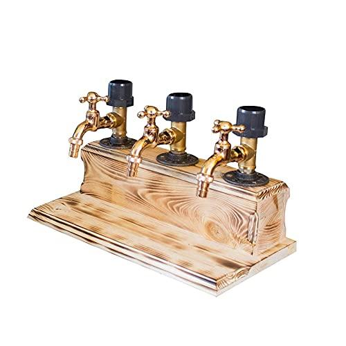 HMYLI Forma del Grifo del dispensador de Madera del Whisky, Fuente de Alcohol del Partido, decantador de cócteles, Soporte de Bebidas de Barman, Regalo del día del Padre