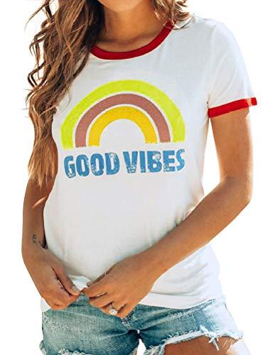 FromNlife Good Vibes der Frauen Regenbogen Shirt Brief Drucken Kurzarm Rundhals Tops Sommer T Shirt Hemdchen