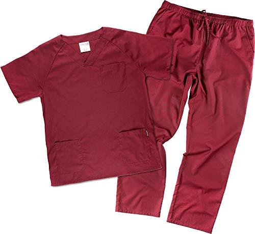 Work Team Uniforme Sanitario, con elástico y cordón en la Cintura, Casaca y Pantalon Unisex Granate XS