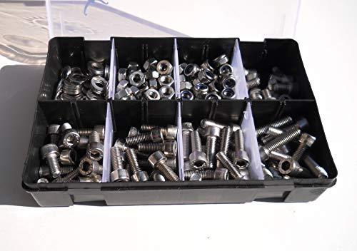 M8 Allen Socket Cap Bolt/Machine Screw, Nut & Washer Assortment Set. 225 Pieces. A2-70 (304) Stainless Steel