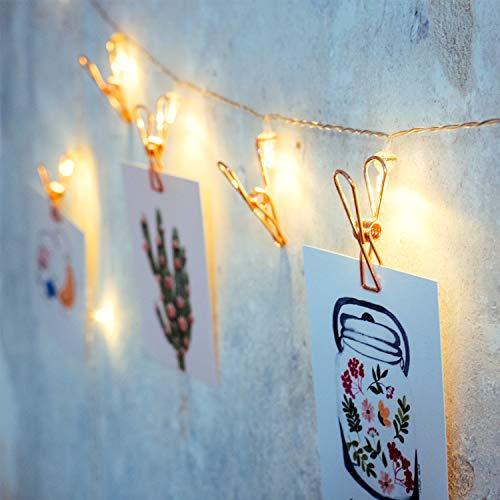 Stane Studios, 10er LED Lichterkette mit Klammern für Fotos, roségold, Klammern aus Metall, batteriebetrieben, LED Fotoclips Lichterkette,