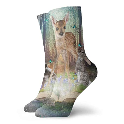Be-ryl Magic Forest Freunde Bambi Africa Ratel Kaninchen Neuheit Crew Socken Athletic Socks Strümpfe 30CM