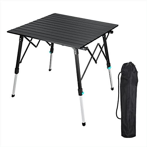 Synlyn Tragbar Campingtisch Klapptisch Faltbar Gartentisch Aluminium Falttisch Camping Tisch Ultra Leichte mit Tasche 70 x 70cm Höhenverstellbar Balkontisch Reisetisch für Picknick Wandern (Schwarz)