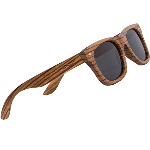 WOODIES Polarized Zebra Wood Sunglasses for Men and Women |Polarized Lenses and Real Wooden Frame | 100% UVA/UVB Ray Protection
