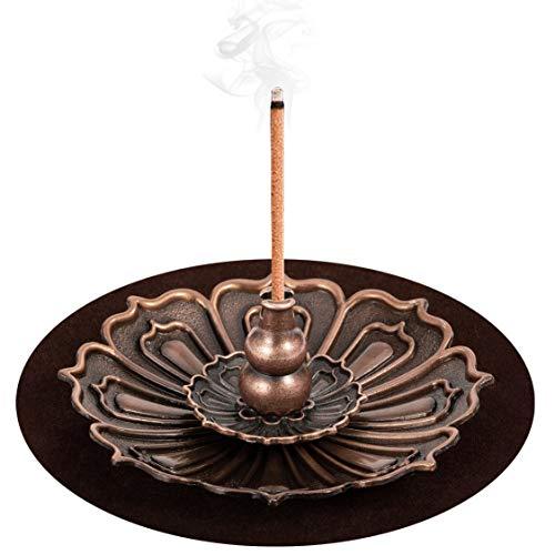 DK177 Brass Incense Sticks Holder Lotus Inscent Burner Disc for Resin Granular Powder Cone Coil Ash...