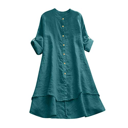 Lowest Price! XBYEE Women's Cotton Linen Full Front Buttons Jacket Outfit Tunic Tops Hi-Low Dresses ...