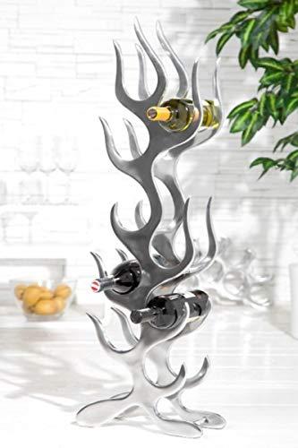 Casa Padrino Designer Weinregal für 9 Flaschen aus poliertem Aluminium Höhe: 93 cm, Breite: 27 cm, Tiefe: 14 cm - Flaschenhalter, Flaschenablage