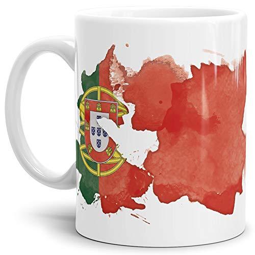 Tassendruck Flaggen-Tasse Portugal Weiss - Fahne/Länderfarbe/Wasserfarbe/Aquarell/Cup/Tor/Qualität Made in Germany