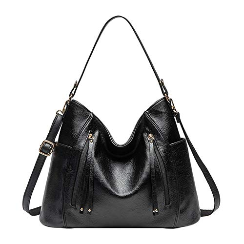 LHY EQUIPMENT Large Ladies Leather Handbag, High Capacity Crossbody Shoulder Bag for Woman Hold 13 Inch Laptop Soft PU Leather Shopping Top-Handles,Black