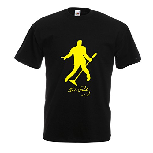 lepni.me Camisetas Hombre Me Encanta el King of Rock and Roll, 50s, 60s, 70s, Music Fan (X-Large Negro Amarillo)