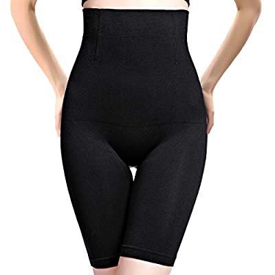 PANHAYO Womens Shapewear Tummy Control Shorts Thigh Slimmer High-Waist Panty Firm Control Body Shaper (Black, XS/S)