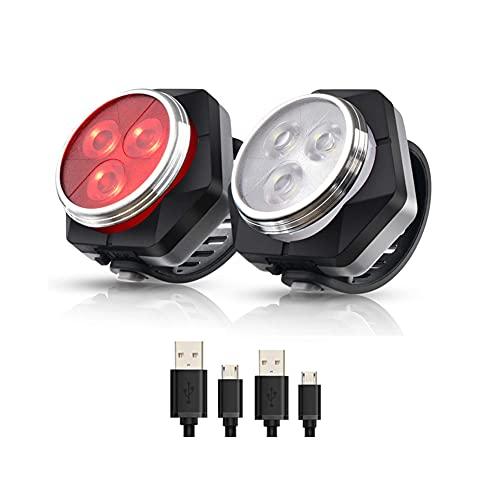.Hually. Luces Bicicleta Recargable LED, Luz para Bicicleta por USB Conjunto de Luces Delantera y Trasera para Bicicleta 4 Modo 800mAh Reflector Bici Seguridad Faro de Señal,2 Cable USB