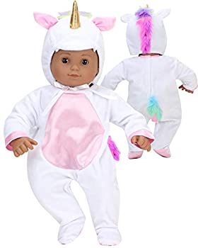 Unicorn Costume for 15 Inch Doll | Features Pink Rainbow Hair | Soft White 2 Pieces Unicorn Costume for Dolls| Doll Not Included