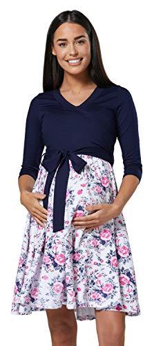 HAPPY MAMA Damen Umstandskleid Stillkleid 3/4 Ärmel 525p (Marine & Weiße Blumen, 36-38, S)
