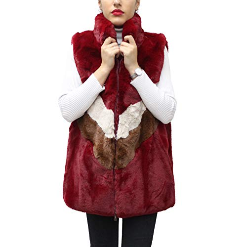 Glamexx24 Dames outdoor bont vest in strepen kleuren mouwloze mantel teddyfell jassen waistcoat