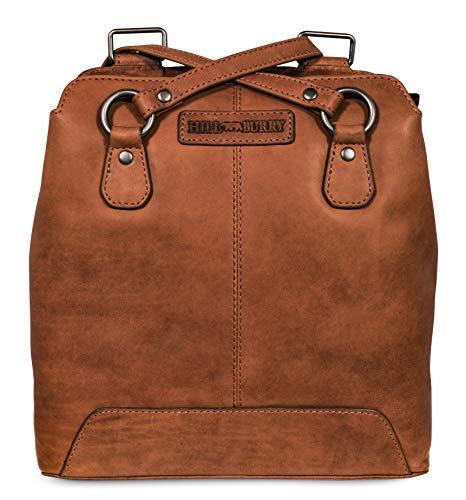 Hill Burry Damen Schulterbeutel   aus weichem hochwertigem Rindsleder - Vintage Bag Beutel   Umhängetaschen - Abendtasche   Handtasche - Schultertasche (Braun)