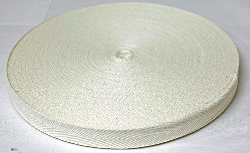 Cinta de sarga de algodón mezclado 20 mm x 1 mm x 50 M beige crudo