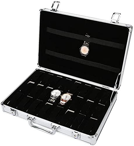 Caja de reloj de exhibición de la caja de almacenamiento, caja de reloj de 24 ranuras hecha de aleación de aluminio, caja de exhibición de reloj unisex para reloj, pulsera, organizadores de joyas