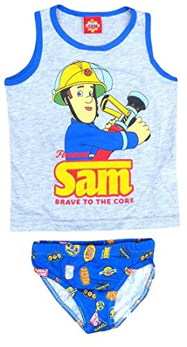 Pariser-Mode Sam Feuerwehr Komplett-Sets - Slip & Hemd, Unterwäsche,116-122 für den Jungen mit dem Bild Feuerwehrmann Sam Jungen Herbst winter Baumwolle