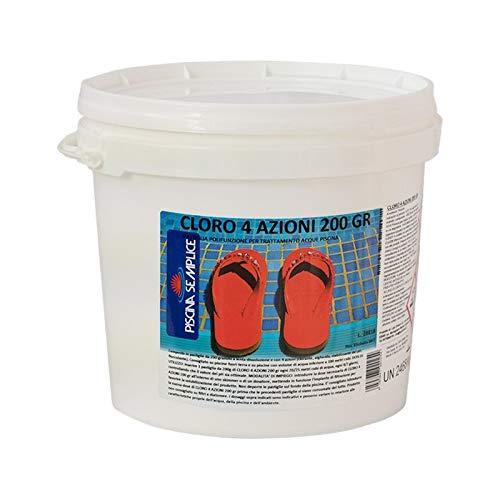 Lapi - 5 kg Cloro 4 Azioni Pastiglie 200 Gr Multifunzione Alghicida Clorante Stabilizzante del PH Flocculante Lenta Dissoluzione
