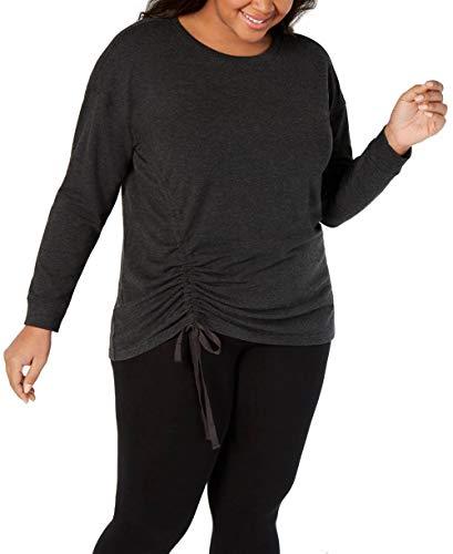 Ideology Womens Plus Fitness Workout Sweatshirt Gray 1X