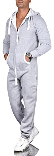 A. Salvarini Herren Jumpsuit Overall Jogging Anzug Trainingsanzug Jogger Sportanzug AS-039 [AS-039-Hellgrau-Gr.4XL]