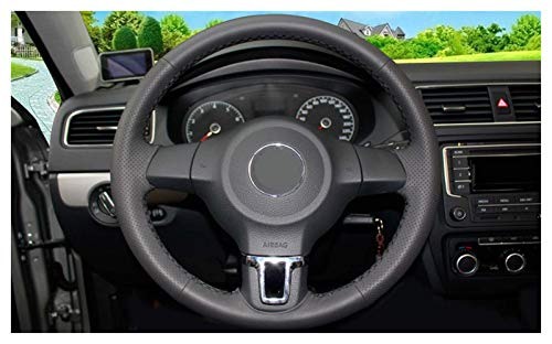 Accesorios de coche Fundas de cuero para volante de coche cosido a mano para Volkswagen VW Golf 6 Mk6 VW Polo MK5 2010-2013 (línea negra)