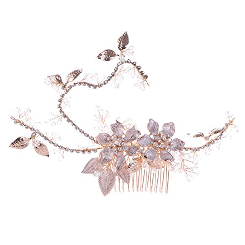 Amosfun - Pettine per capelli con fiori e ghirlanda di cristalli, accessorio da sposa per matrimoni, feste, vacanze, fotografia (oro)