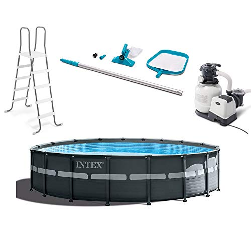 Intex 26329EH 18ft X 52in Ultra XTR Pool Set with Sand Filter Pump, Ladder, Pool Cover and Maintenance Cleaning