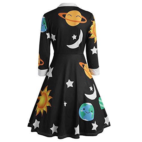 Likecrazy Damen Weihnachten Kleid Lange Ärmel Xmas Drucken A-Line Kleid Retro Hepburn...