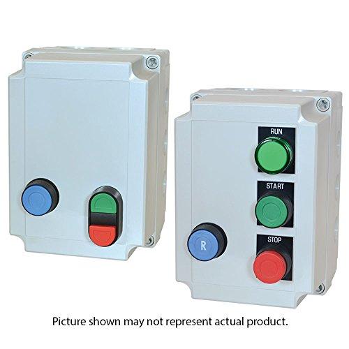 c3controls E620-JD10-55-FR102-01-WW Polycarbonate Enclosed DOL Starter, 18A Contactor, 1NO Aux, Overload Relay (11-17A), Blue Flush Reset Button, Mom. Non-Illum.: Flush Green 1 NO & Ext. Red 1NC