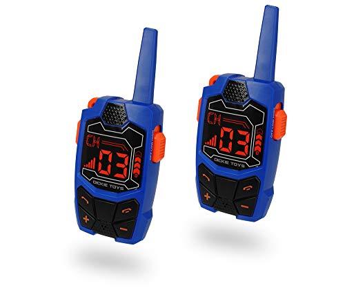 Dickie Toys Walkie Talkie Outdoor Funkgerät, 2er Set, Reichweite bis zu 250 m im freien Gelände, Frequenz: 434 MHz, Gürtelclip, inkl. Batterien, ab 4 Jahren, blau