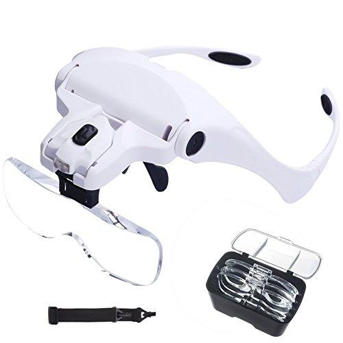 LED Kopfband Lupenbrille, Queta Led Kopfband Lupen Lampe Stirnband Brille Lupen für Lesen, Juweliere und Reparieren, 5 Austauschbare Linsen 1.0X, 1.5X, 2.0X, 2.5X, 3.5X, Weiß