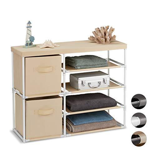 Relaxdays ladenkast stof, stoffen commode met 2 laden, metalen frame, 6 vakken, 65 x 80,5 x 29 cm, wit-beige, metaal, polyester, kunststof
