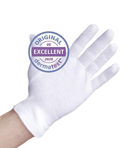Dermatest: Sehr Gut - Well B4® Care Baumwollhandschuhe, Zwirnhandschuhe aus 100% Baumwolle, Weiche Trikothandschuhe, 3 Paar, weiß, Größe M