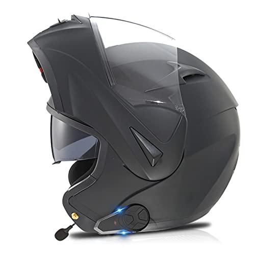 Lmoto-helmet Bluetooth Casco Moto Modular Casco de Moto Integral para Mujer Hombre Adultos con Anti Niebla Doble Visera Casco Integrado con 500mA Auriculares Bluetooth, ECE Homologado