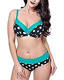 Mujer Bikini Pechos Grandes Bañadores Punto Imprimir Dos Piezas Traje De Baño Verde 48