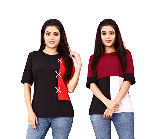 DHRUVI TRENDZ Women Printed Top with Half Sleeves for Office Wear, Casual Wear, Under 399 Top for Women/Girls Top(Red&Red) (Red&Black, Large)