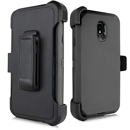 for Samsung Galaxy J7 2018 / J7 Refine / J7V 2nd Gen / J7 Star / J7 Top Case, Heavy Duty Defender Case, Belt Clip Holster w/ [Built-in Screen Protector] Shockproof Drop-Proof Cover (Black)