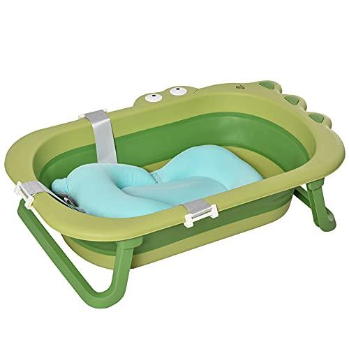 HOMCOM Vaschetta Bagnetto Pieghevole per Bambini 0-3 Anni con Cuscino Regolabile Azzurro e Piedini Antiscivolo, 80x53.9x20.8cm Verde