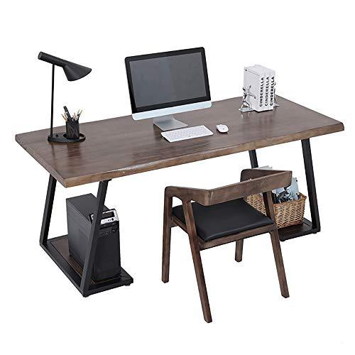 Mesa de oficina en casa con estantes de almacenamiento, escritorio compacto portátil que ahorra espacio, patas de hierro forjado creativas, escritorio espacioso grueso, para oficina, apartamento