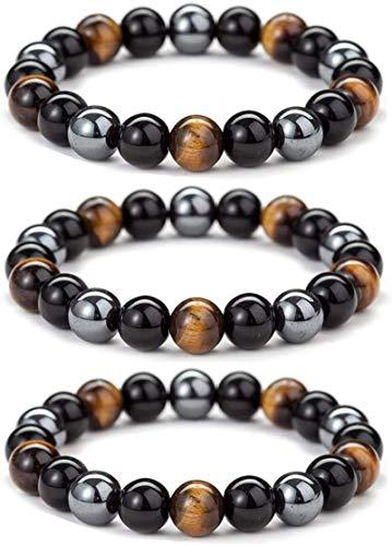 ANCAI 3PCS Triple Protection Bracelet Handcrafted Diabetes Relief Chrysocolla Bracelet for Women Men
